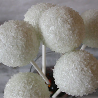 Snowball Sugared Winter Wedding Cake Pops by SimplyDivineDesserts