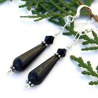 Black Onyx Teardrop Handmade Earrings Swarovski Sterling OOAK Jewelry
