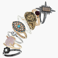 Topshop &#x27;Coin/Stone/Star&#x27; Rings (Set of 8) | Nordstrom