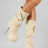 Vivian Buckle Strappy Platform Mid Calf Boot