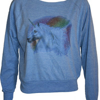 "Glitter Rainbow UNICORN Pullover Slouchy ""Sweatshirt""  Top American Apparel Blue S"