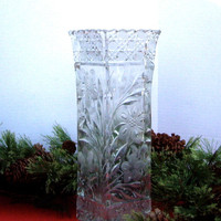 Vintage Leaded Cut Crystal Vase 1940s