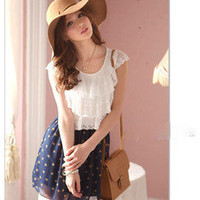 Korean Women Lace Chiffon Lovely Sundress Round Crewneck Polka Dot Casual Dress