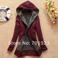 Furry plush hooded COAT 2012 women winter fur LINED Japanese korean fashion