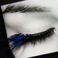Iridescent Blue Peacock Feather False Eyelashes