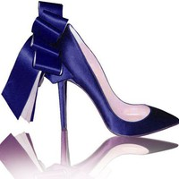 Christian Louboutin Dark Blue Anemone Stiletto Pumps .