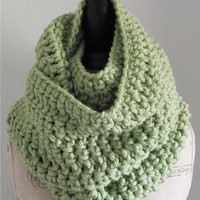 Infinity Scarf Cowl Extra Long Handmade Crochet in Light Green