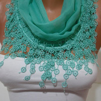 SpringGreen Cotton Shawl/  Scarf -Headband - Cowl with Lace Edge - Spring Summer Trends