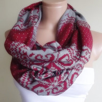 loop infinity circle pashmina scarf grey red reindeer pattern christmas gift for her