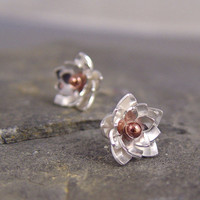 Lotus Blossom Silver Post Earrings by Hapagirls on Etsy