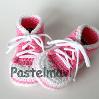 Baby Converse Style Booties (Pink)