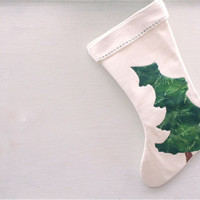rustic green pine tree holiday stocking, christmas tree stocking, organic eco friendly, quilted and hand painted
