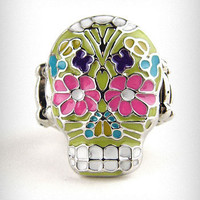 Enameled Sugar Skull Stretch Ring | PLASTICLAND