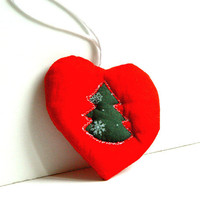 I Love Christmas, Red Heart, Textile Ornament, Christmas Tree, Perfect Gift, Holidays Decor