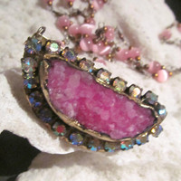 Pink Druzy Iridescent rhinestone Necklace