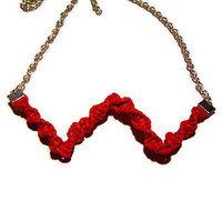 Red Macrame Necklace, Chevron Necklace, Red Cord Necklace, Chain Necklace, Christmas, Gift for Her, Boho Necklace, OOAK
