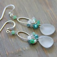 Sea Glass Chandelier Earrings Frosted White Sea Glass With Semi Precious Stones