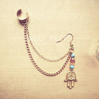 Gold Hand Charm with Orange and Blue Beads Ear Cuff