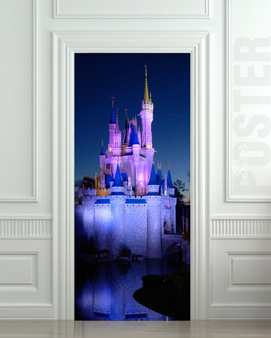 Door wall sticker castle fairy tale from pulaton on etsy new for Disneyland wall mural
