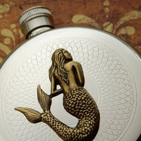 Round Mermaid Flask Hip Flask Silver &amp; Brass Gothic Victorian Nautical Steampunk Pirate Accessories Featured on TheAwesomer dot com