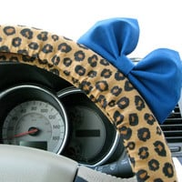 Leopard Print Steering Wheel Cover with Matching Blue Bow