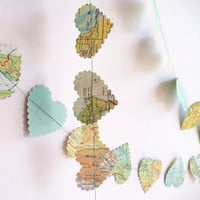 Vintage paper garland Wedding Decoration romantic heart world map paper garland vintage paper hearts, party decoration, pale greens