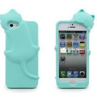 Cute Kiki Cat Silicone Soft Case Phone Cover for  iPhone 5 5G +Stylus Blue
