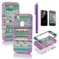 Stylus + For iPhone 4 4S 3-Piece Hybrid High Impact Case Tribal Purple Silicone