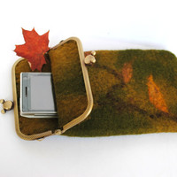 Cell phone case or glass case, OOAK, cover with an autumn green and orange colors for iPhone 5, iPhone 4, iPhone 3 or Samsung G