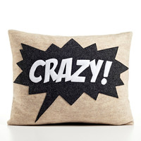 CRAZY oatmeal, charcoal and white recycled felt applique pillow 14x18 inch