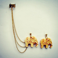 ear cuff with bone colored elephant earrings, chains ear cuff, ear cuff earrings, ear cuff with chains