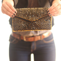 VTG Black and gold beaded clutch