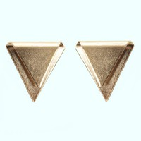 Antique Gold Metal Triangle Stud Earring | MessesOfDresses.com