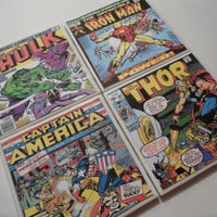 Avengers Vintage Comic Book Cover Ceramic Coasters - set of 4 - Thor, Hulk, Iron Man, and Captain America
