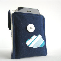 Eco Friendly. Iphone 5 Cozy. Upcycled. Blue. Cloud. Tshirt. Holiday Gift. For Her. Stocking Stuffer. Teen. Tween. Free U.S Shipping.