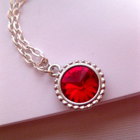 Ruby Red Swarovski Element Necklace In Silver - July Birthstone
