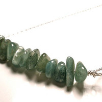 Green Aventurine Gemstone Bar Necklace in Sterling Silver