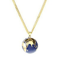 Kitson | Kitson 14ct Gold Plated Enamel Globe Pendant Necklace at ASOS