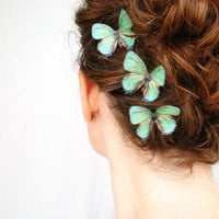 three handmade emerald green silk butterfly hair clips . &#x27;emerald gypsies&#x27; . pure dupioni silk