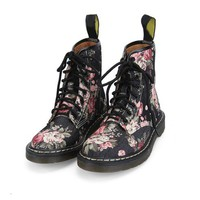 Vintage Black Denim Boots with floral print