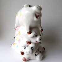 Very Cute Large Piggy Bank with Four Pigs - Large 8&quot; tall.