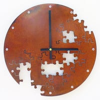 Puzzle Wall Clock V (Rusted)