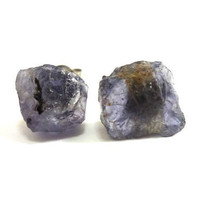 Raw Violet Iolite Gemstone Druzy Stud Earrings by AstralEYE