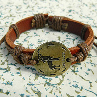 12 animal zodiac capricorn Adjustable bracelet  bracelet Cowhide Leather hipster jewelry leather bracelet wooden  bead and hollowed tube