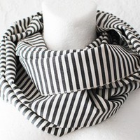 October SALE Grey Stripes Loop Circle Scarf infinity by WhiteMoth