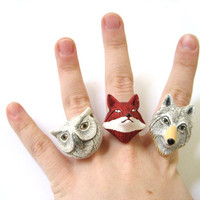 Woodland Animals Matchings Rings Ceramic Folk by SpotLightJewelry