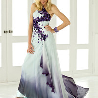 Sky &amp; Amethyst Chiffon Embroidered Rosette One Shoulder Gown - Unique Vintage - Bridesmaid &amp; Wedding Dresses