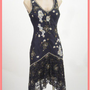 20s Flapper Style Black Satin Beaded Lace Cocktail Dress-1920s Style Prom Dresses-Wedding Dresses