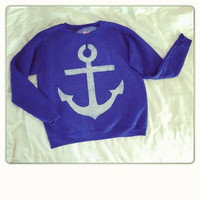 Made to Order BIG Anchor Sweatshirt hand stenciled womens sizes S to 4XL