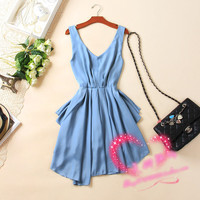 Sexy Women Chiffon Backless Bow Pleated Clubwear Party Cocktail Mini Dress Oji
